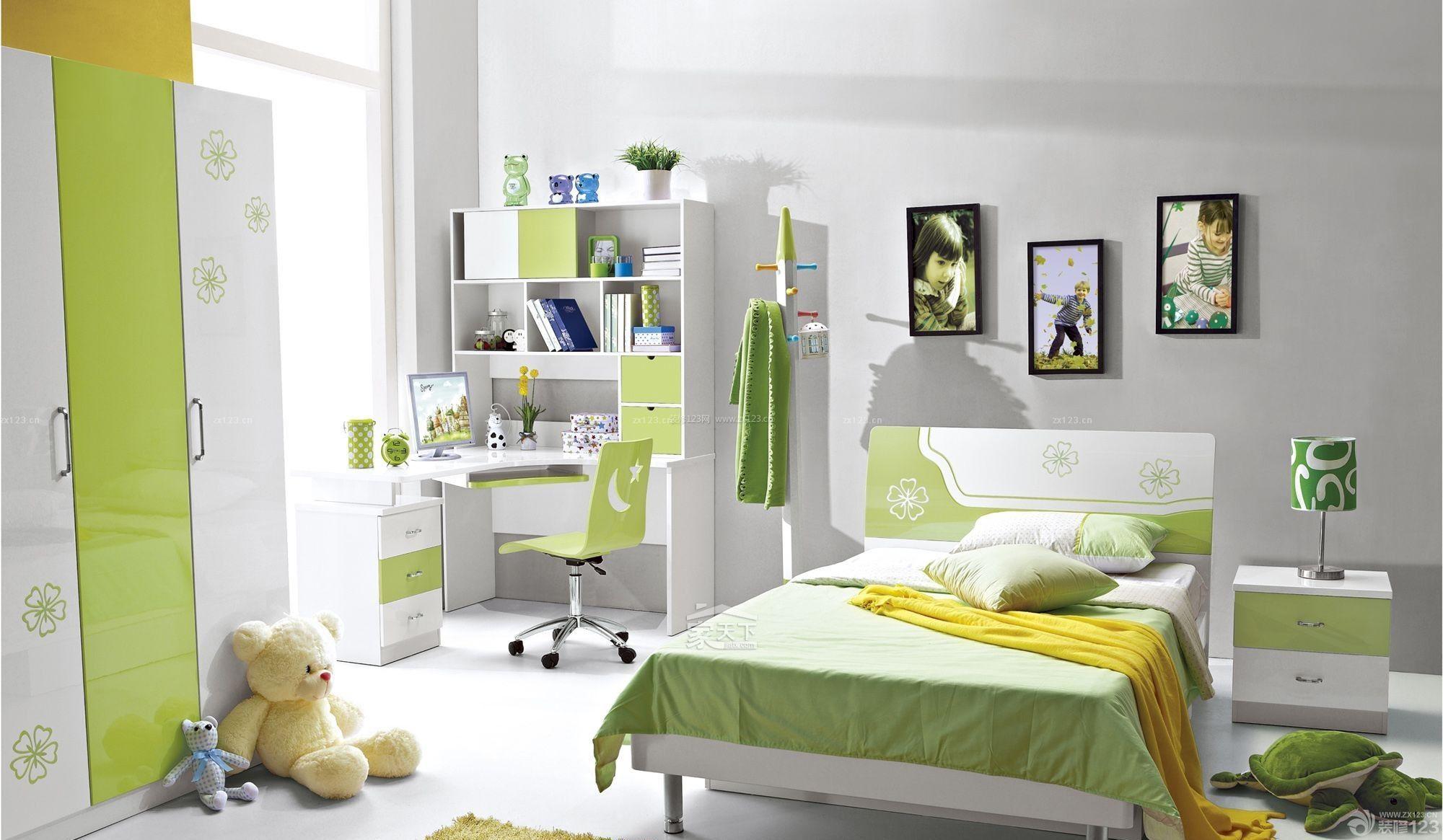 小清新家装卧室转角写字台设计图片