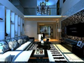 簡約時尚風格 小復式 挑高客廳裝修效果圖 簡約吊燈