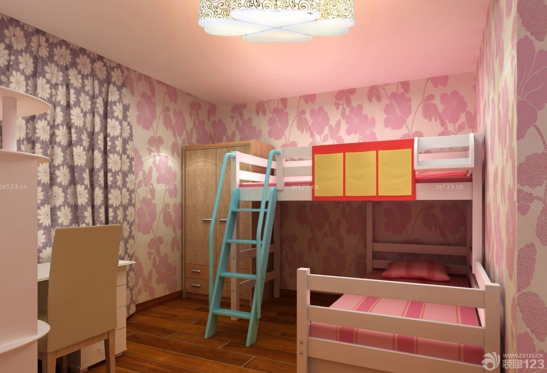 70平米小户型卧室实木高低床装修图片