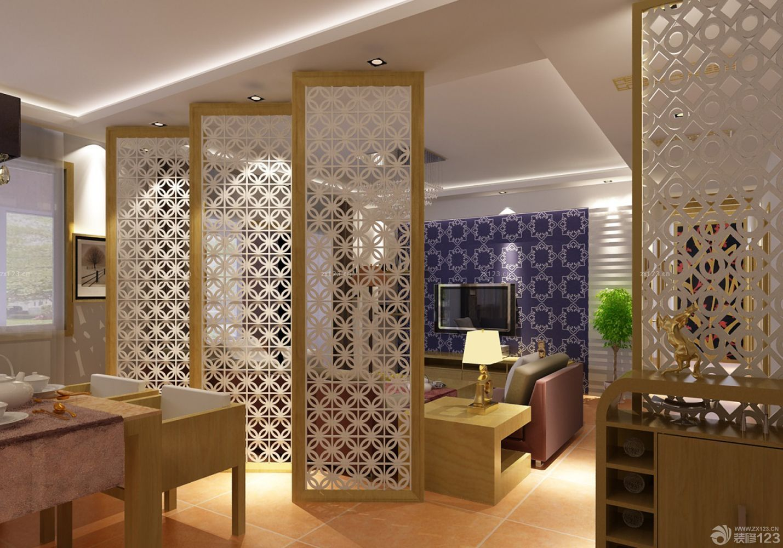 现代沉稳客厅与餐厅屏风隔断设计图片