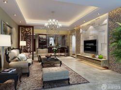 簡約歐式風格新房客廳3d電視背景墻效果圖