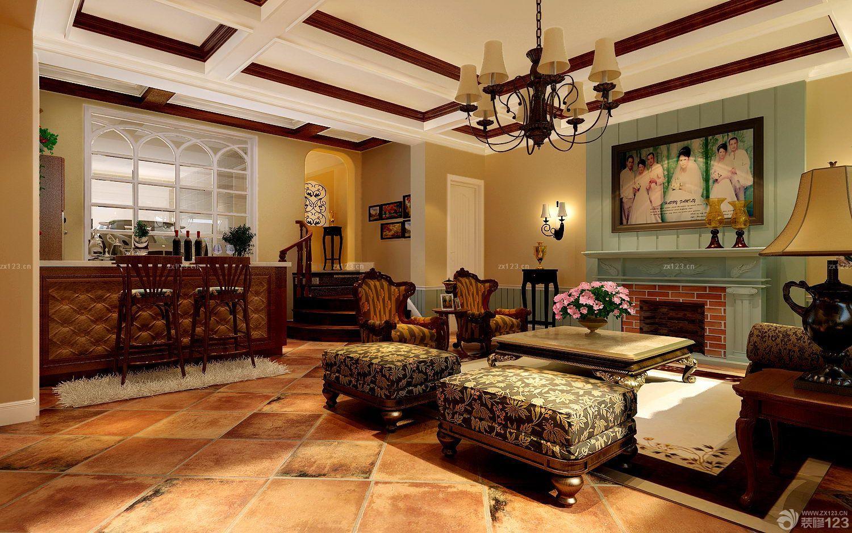 独栋别墅进门玄关欧式仿古砖设计图片