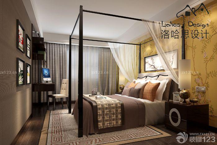 新中式风格主卧室四柱床图片
