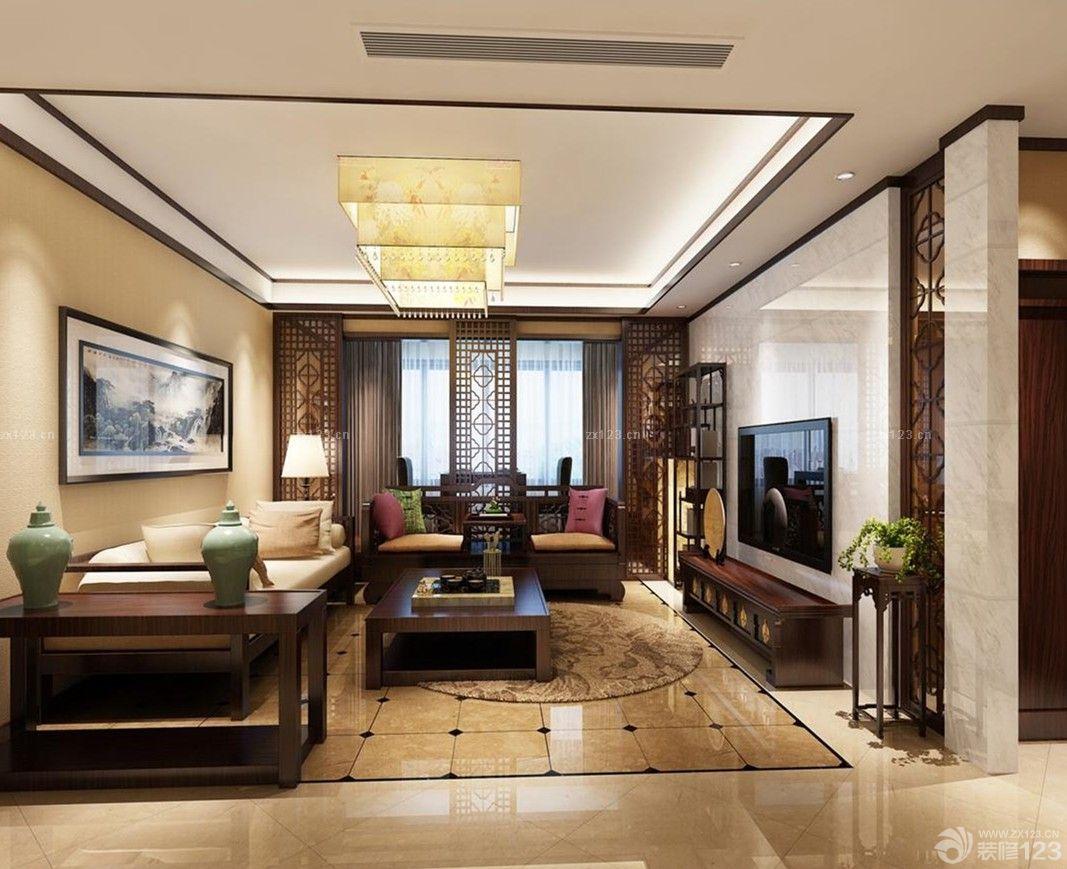 简约中式风格客厅瓷砖拼花设计效果图