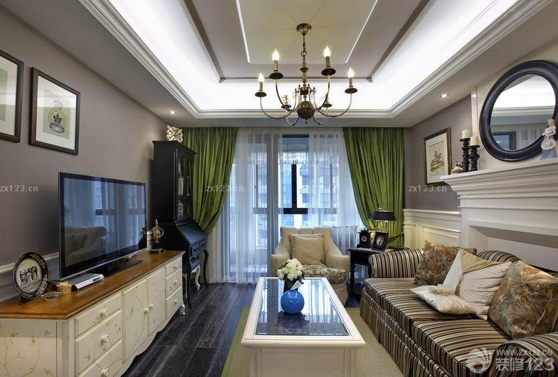 歐式家裝設計長方形客廳石膏板吊頂圖片大全