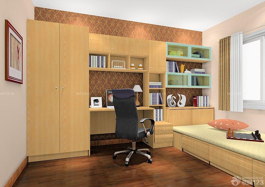 现代风格70平米房子室内写字台书柜组合设计图片