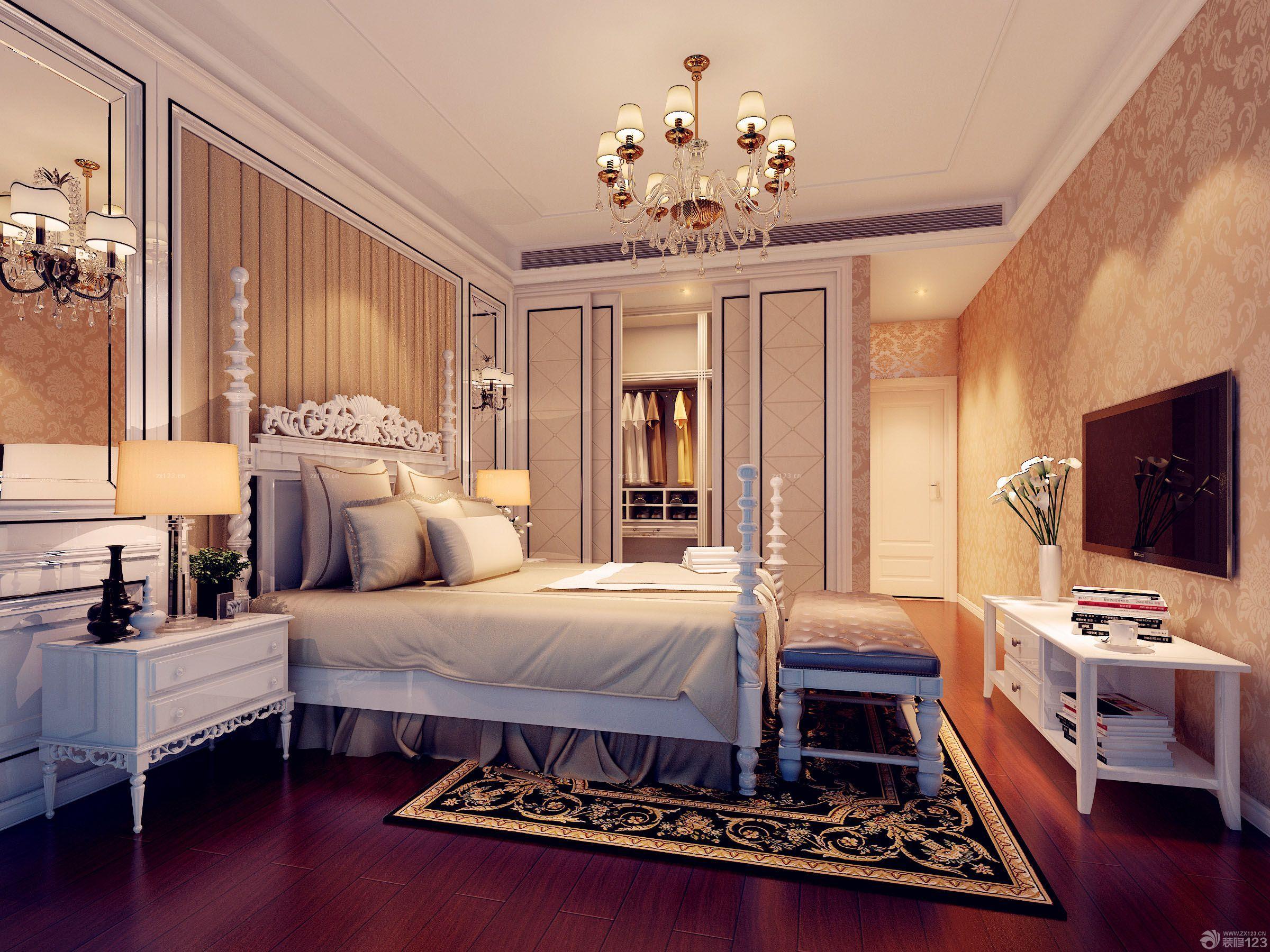 欧式室内装潢三室两厅大卧室床头背景墙设计图