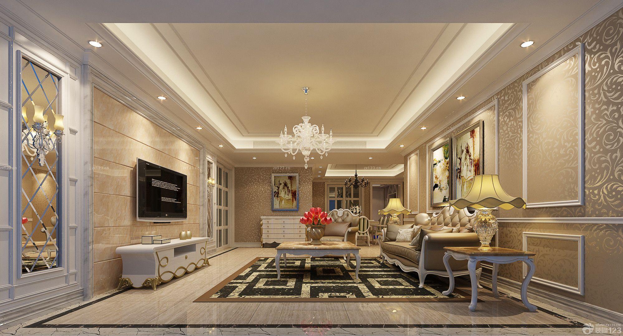 160平米家装客厅欧式风格客厅墙纸装饰效果图图片