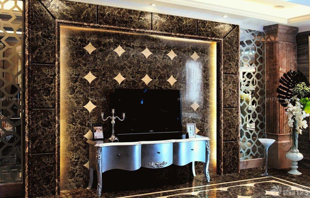 冷色调微晶石瓷砖背景墙设计图片展示图片
