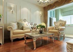 新房客廳歐式沙發木質背景墻裝修圖欣賞