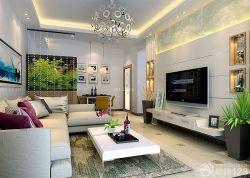 現代設計風格新房客廳室內電視背景墻裝修圖