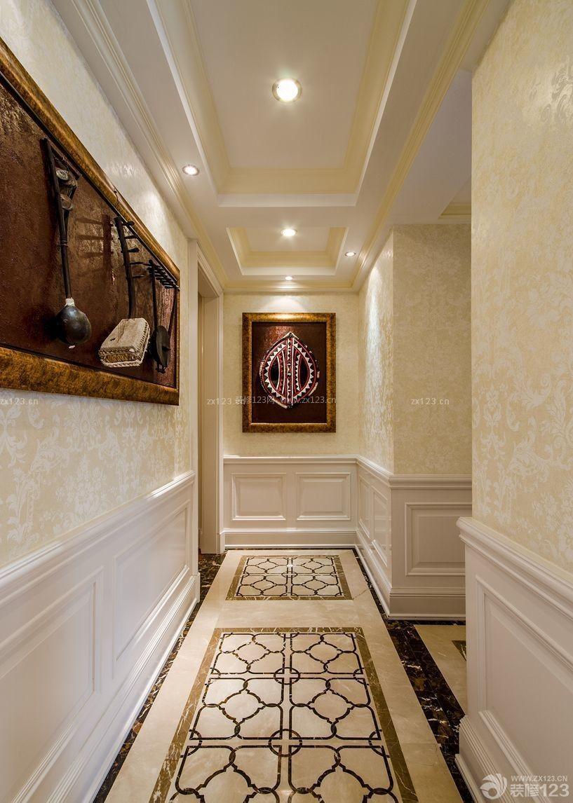 160平米家装玄关瓷砖拼花贴图