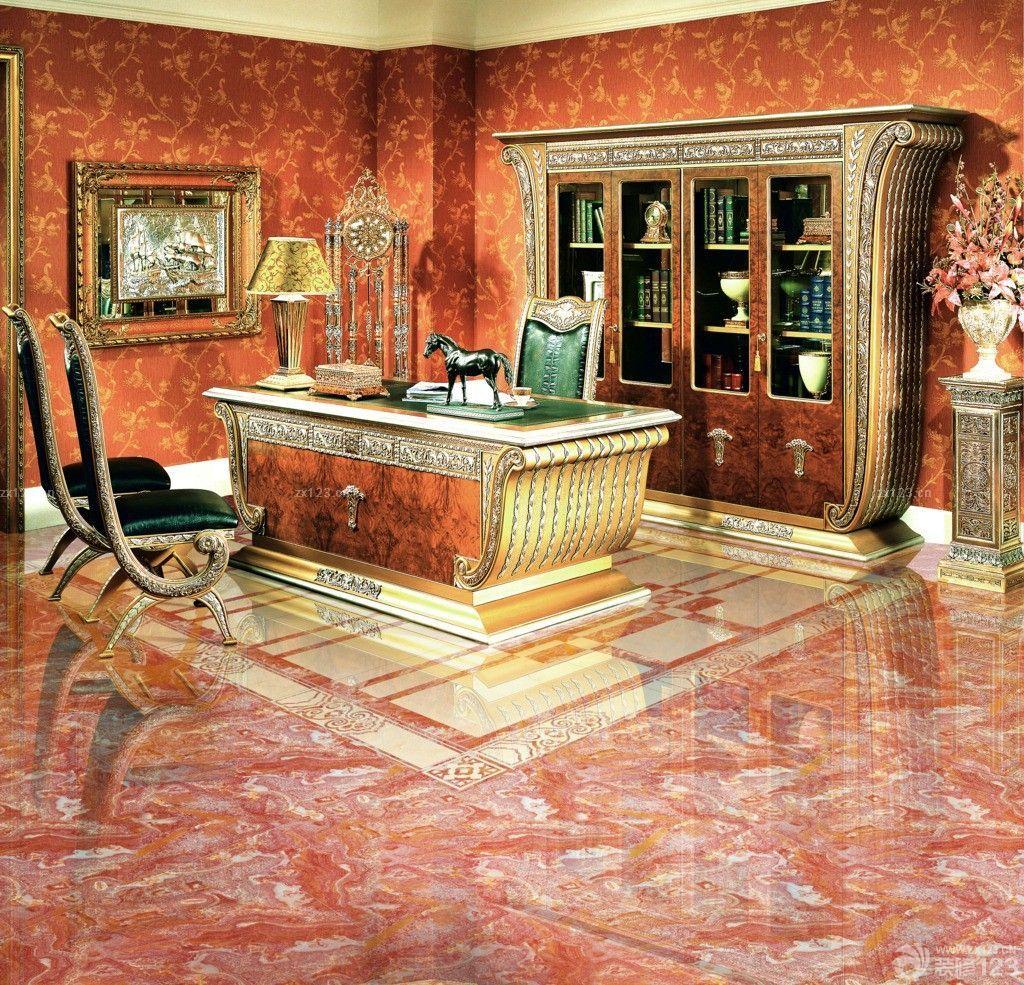 经典欧式风格别墅客厅瓷砖拼花设计效果图