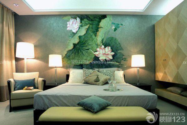 卧室床头背景墙效果图四:手绘画