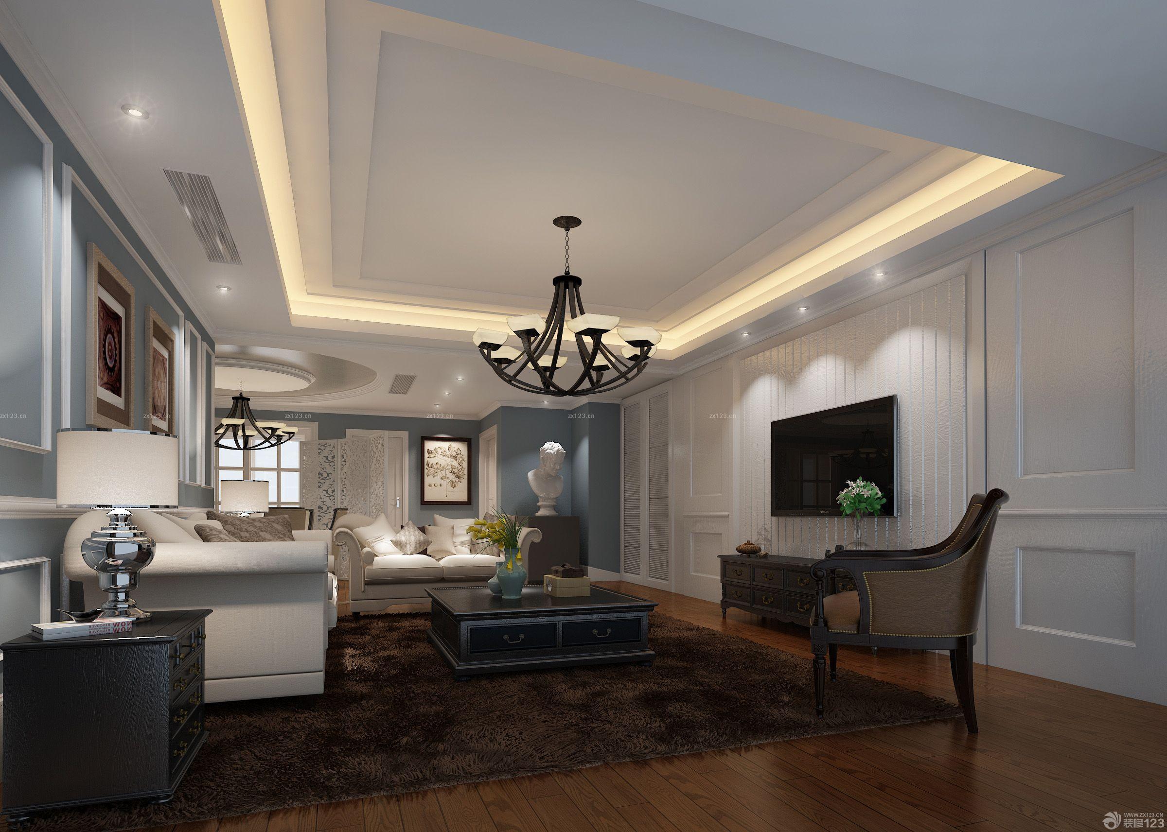美式家装长方形客厅室内吊顶简约吊灯图