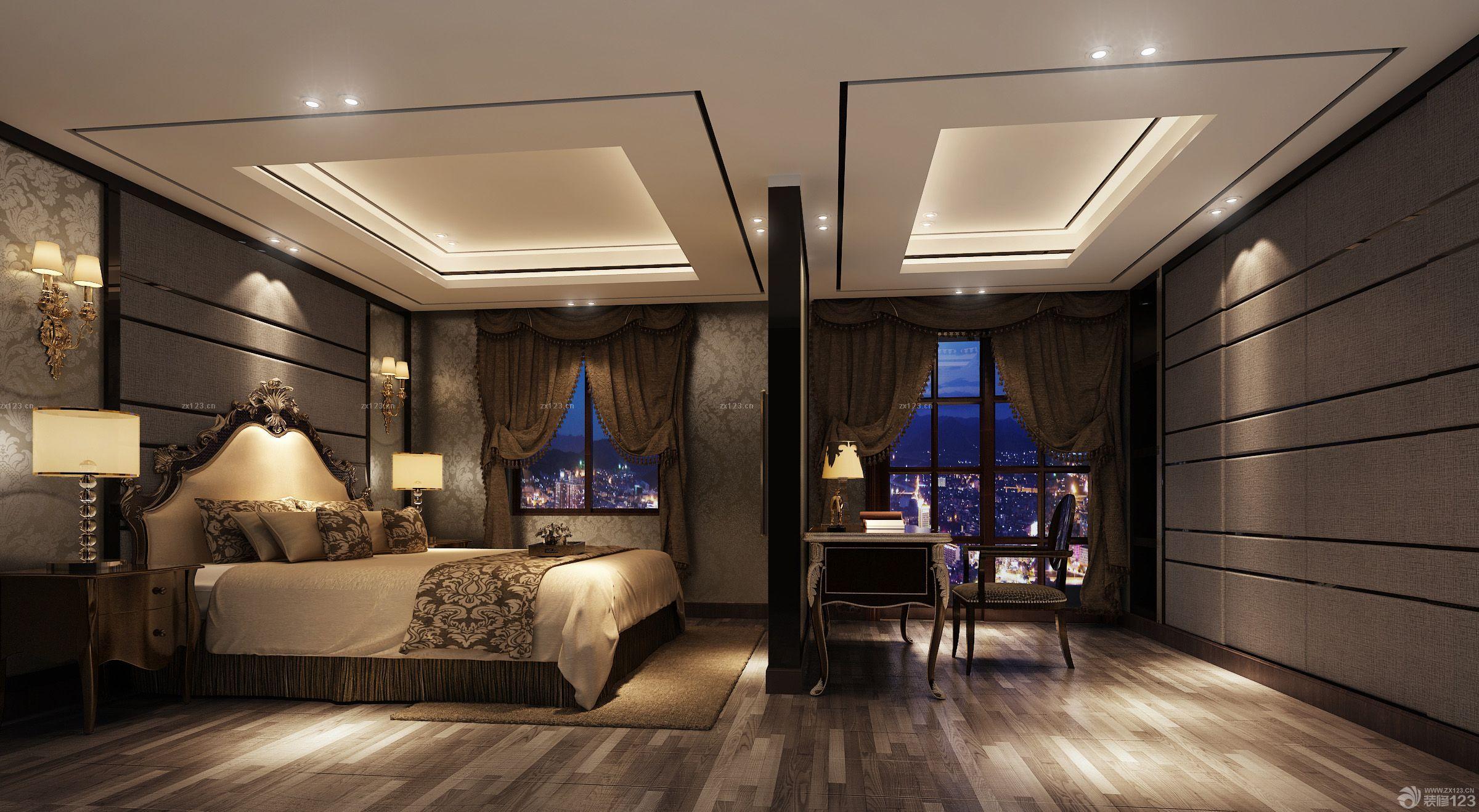 欧式新古典风格大卧室室内隔断图