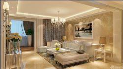 簡約歐式風格新房客廳背景墻畫圖