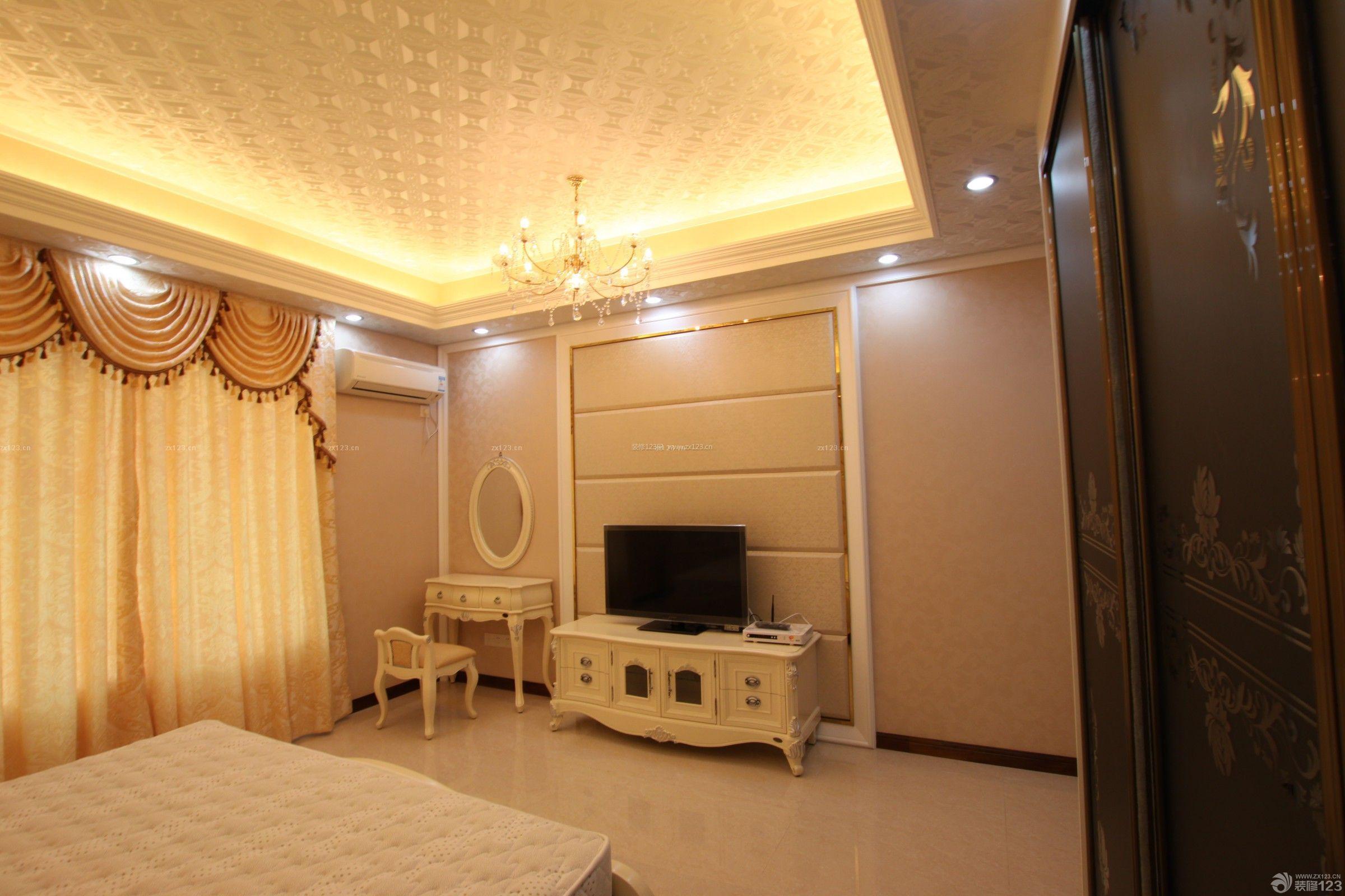 180平米现代欧式风格卧室电视背景墙装修图片