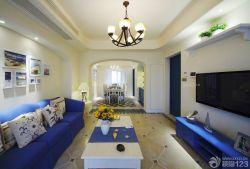 地中海風格客廳照片墻設計圖