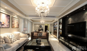 现代欧式风格 长方形客厅 最新客厅装修效果图