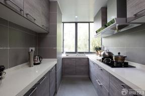 100平米房子 小廚房 咖啡色櫥柜 天花板吊頂 鋁扣板集成吊頂 現代設計風格