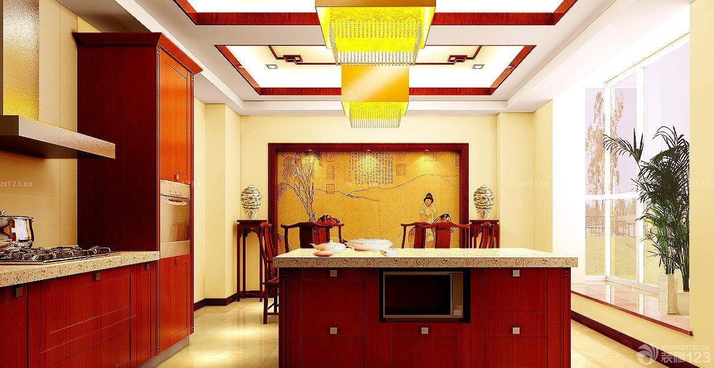 中式风格开放式厨房吊顶设计效果图