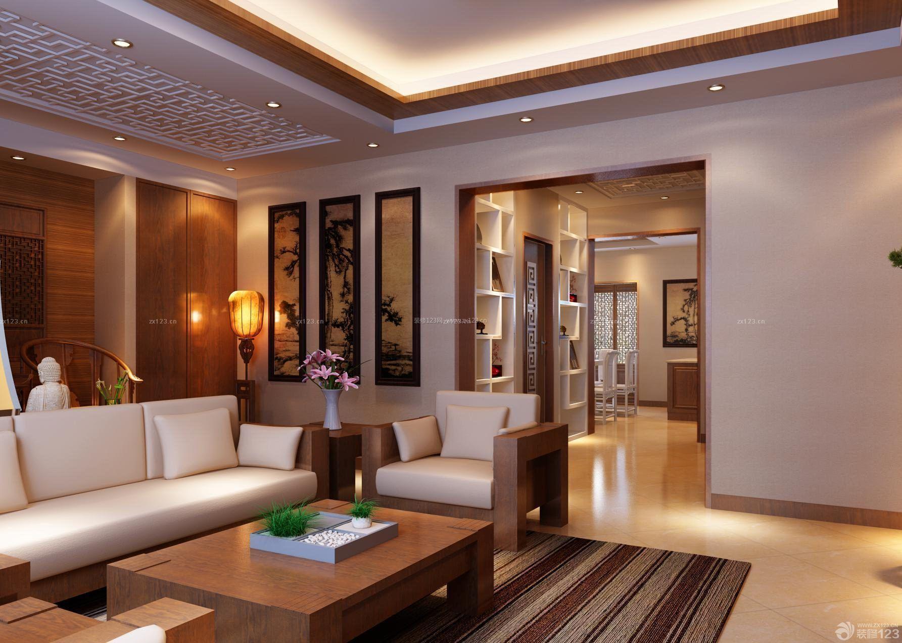 跃层房子新中式风格家居客厅装修效果图