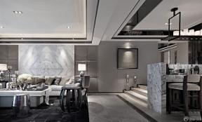 125平米 客廳天花板吊頂 黑色地磚