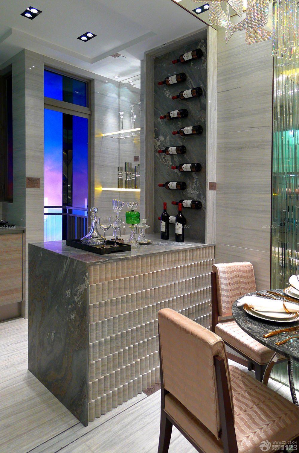 90平米厨房酒架吧台设计效果图