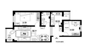 90平米 平面图设计 两室一厅图片