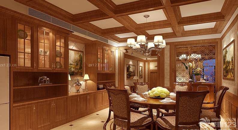 餐厅木质吊顶设计图片