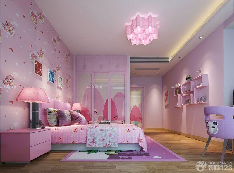 女孩卧室卡通壁纸装修图片