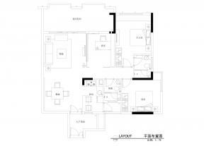 90平米 三室一厅室内设计 户型图
