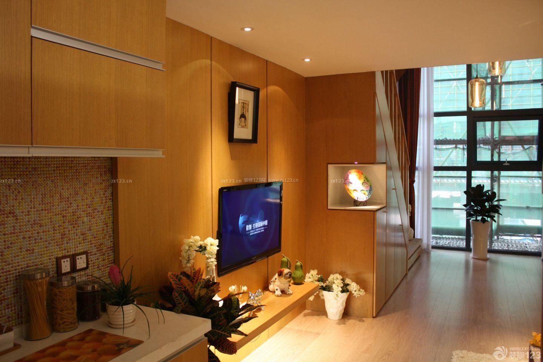 楼中楼挑高小户型客厅影视墙效果图