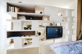 小戶型客廳影視墻 置物架