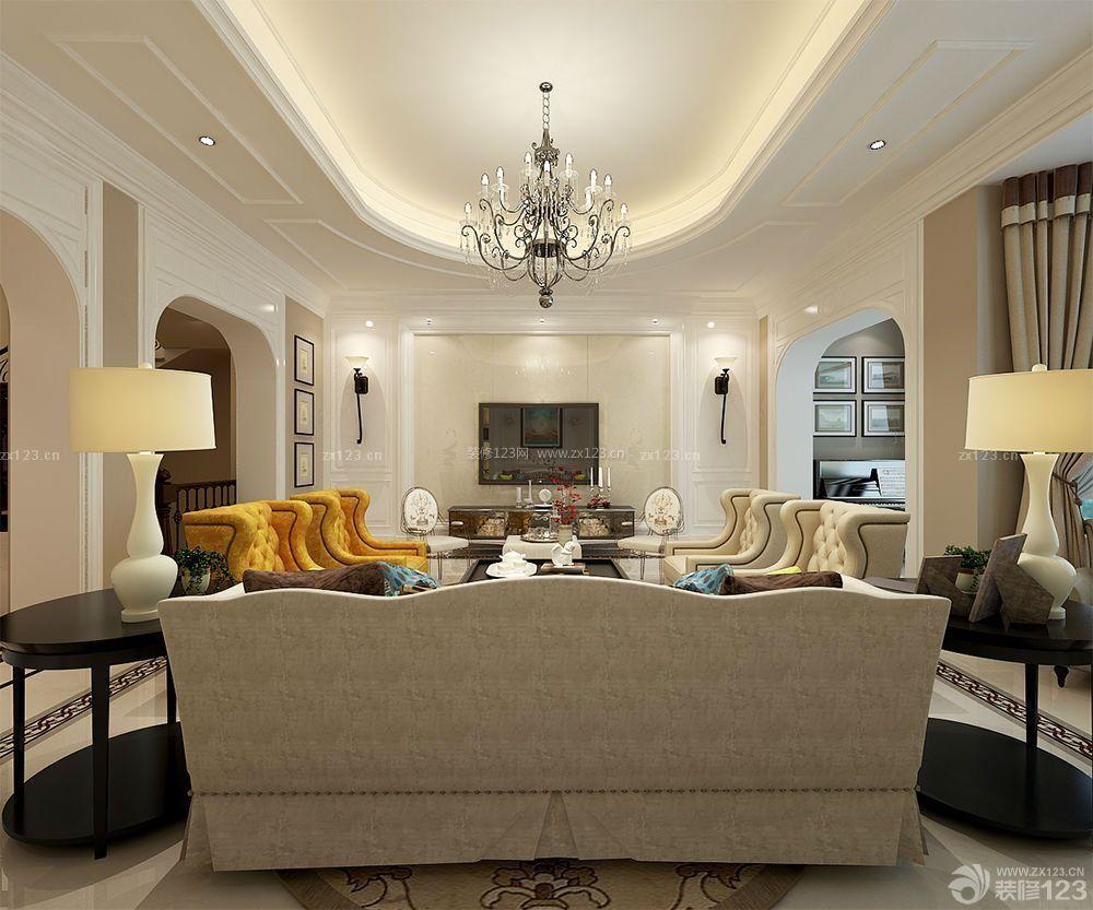 法式风格长方形客厅吊顶造型效果图