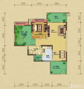 一室一廳平面圖 小戶型中式古典裝修