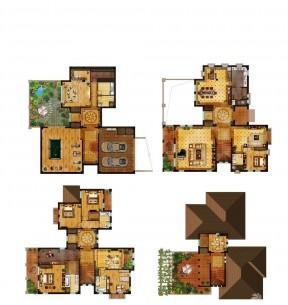四层别墅户型图 农村房屋设计户型图