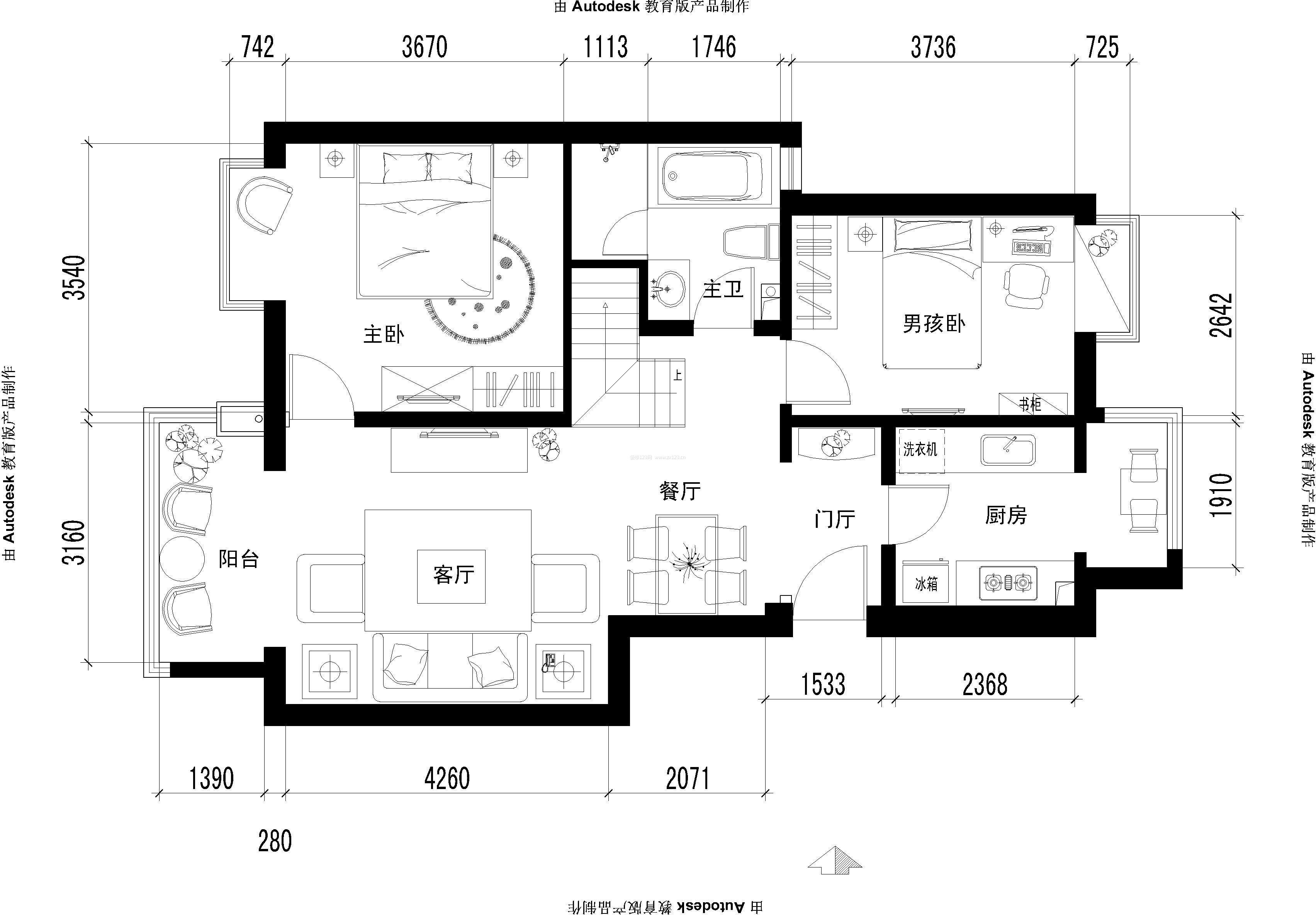 小户型cad室内布局平面图