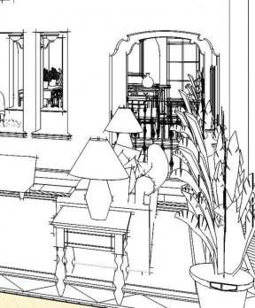 餐厅手绘效果图线稿