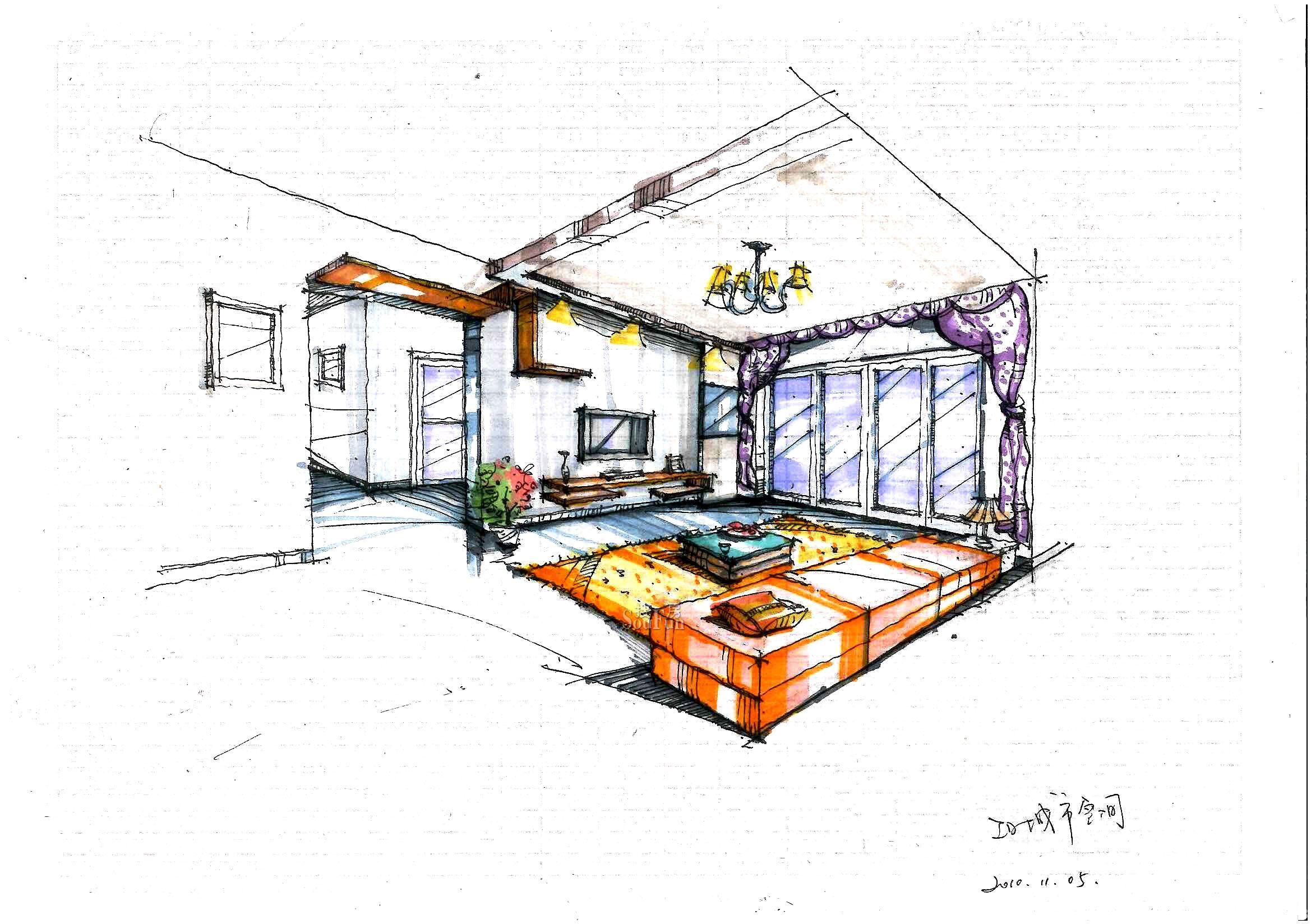 卧室简约风格手绘效果图