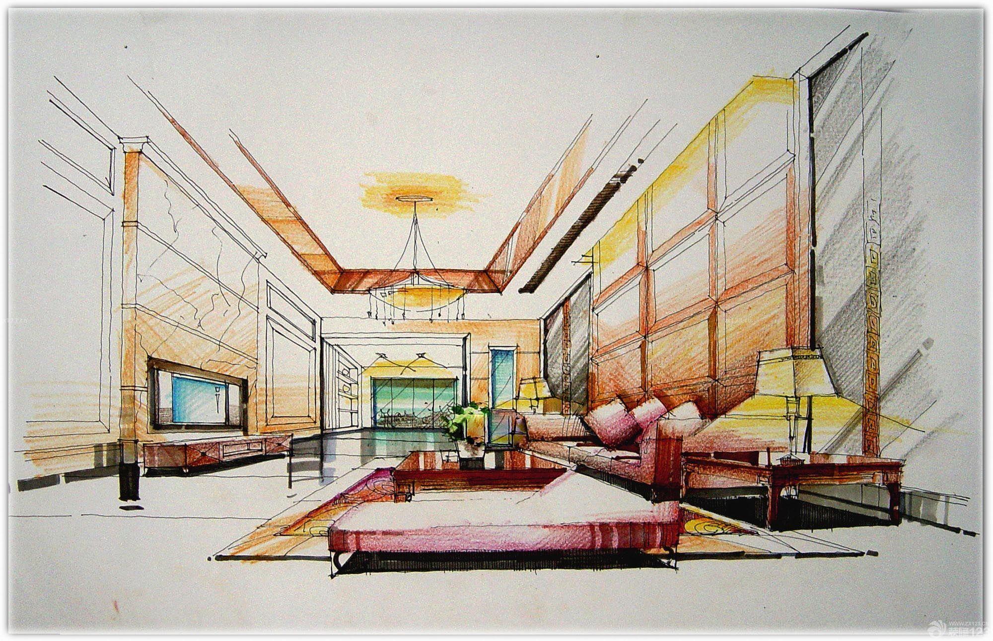 卧室简约风格手绘效果图_装修123效果图