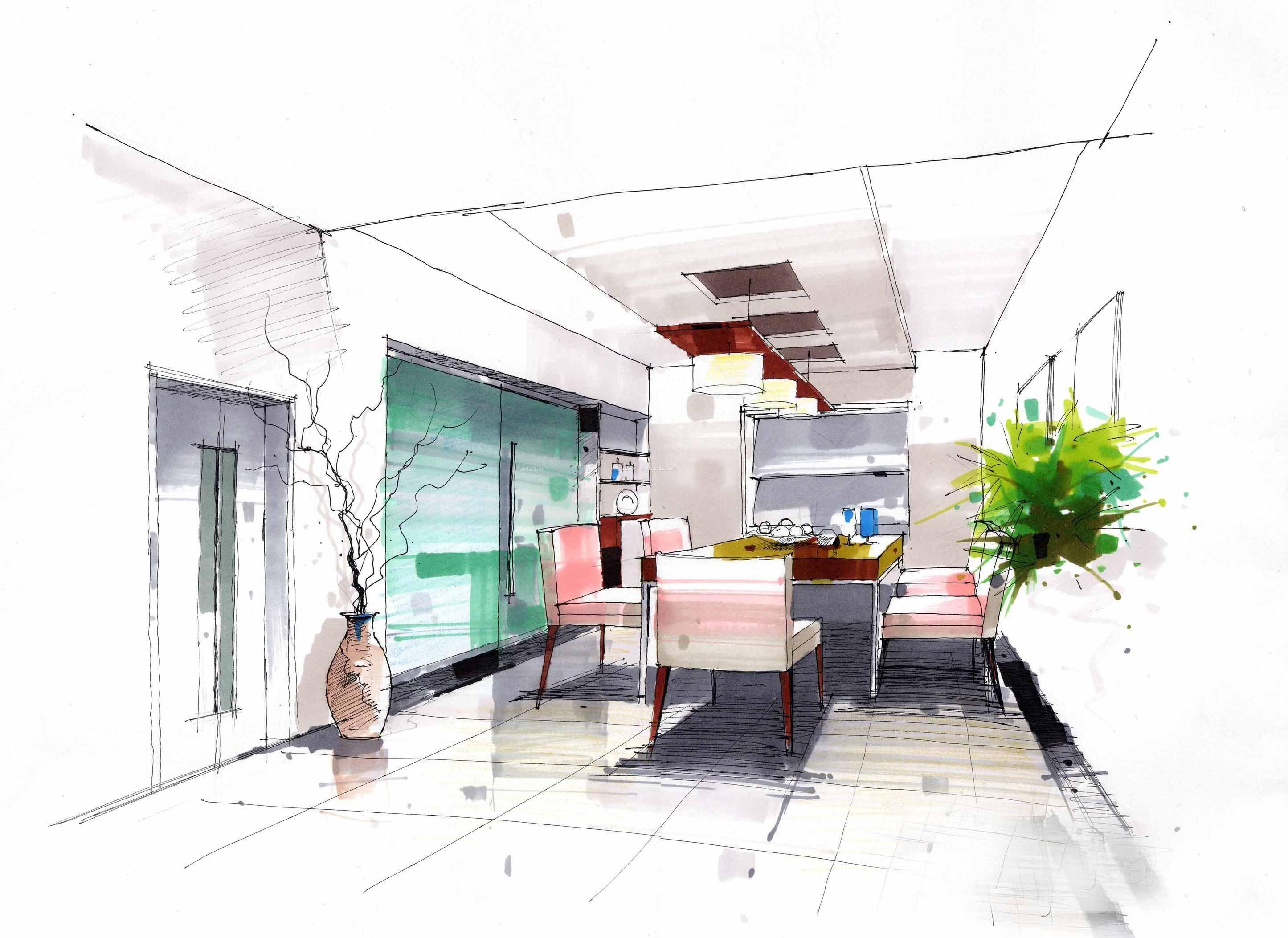 家装效果图 简约 简约风格餐厅手绘效果图 提供者:   ← → 可以翻页