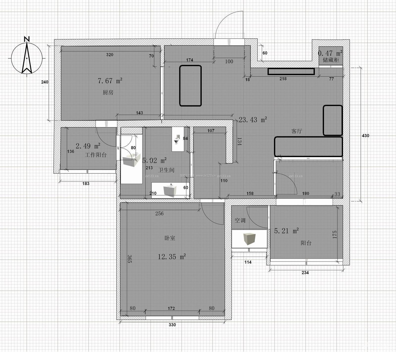 单身公寓一室两厅平面设计图