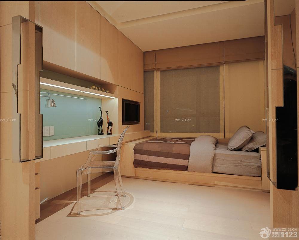 50平单身公寓现代简约风格床装修图片