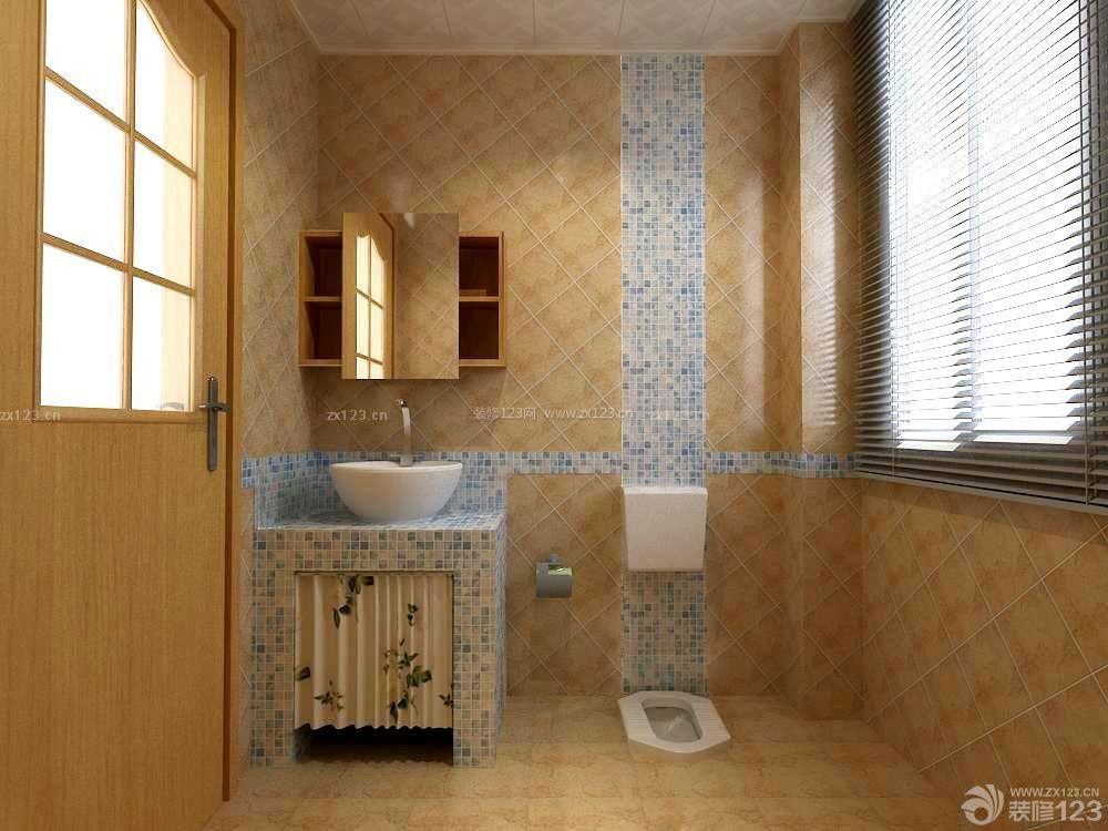 最新简欧风格小户型厕所卫生间瓷砖配色装修效果图