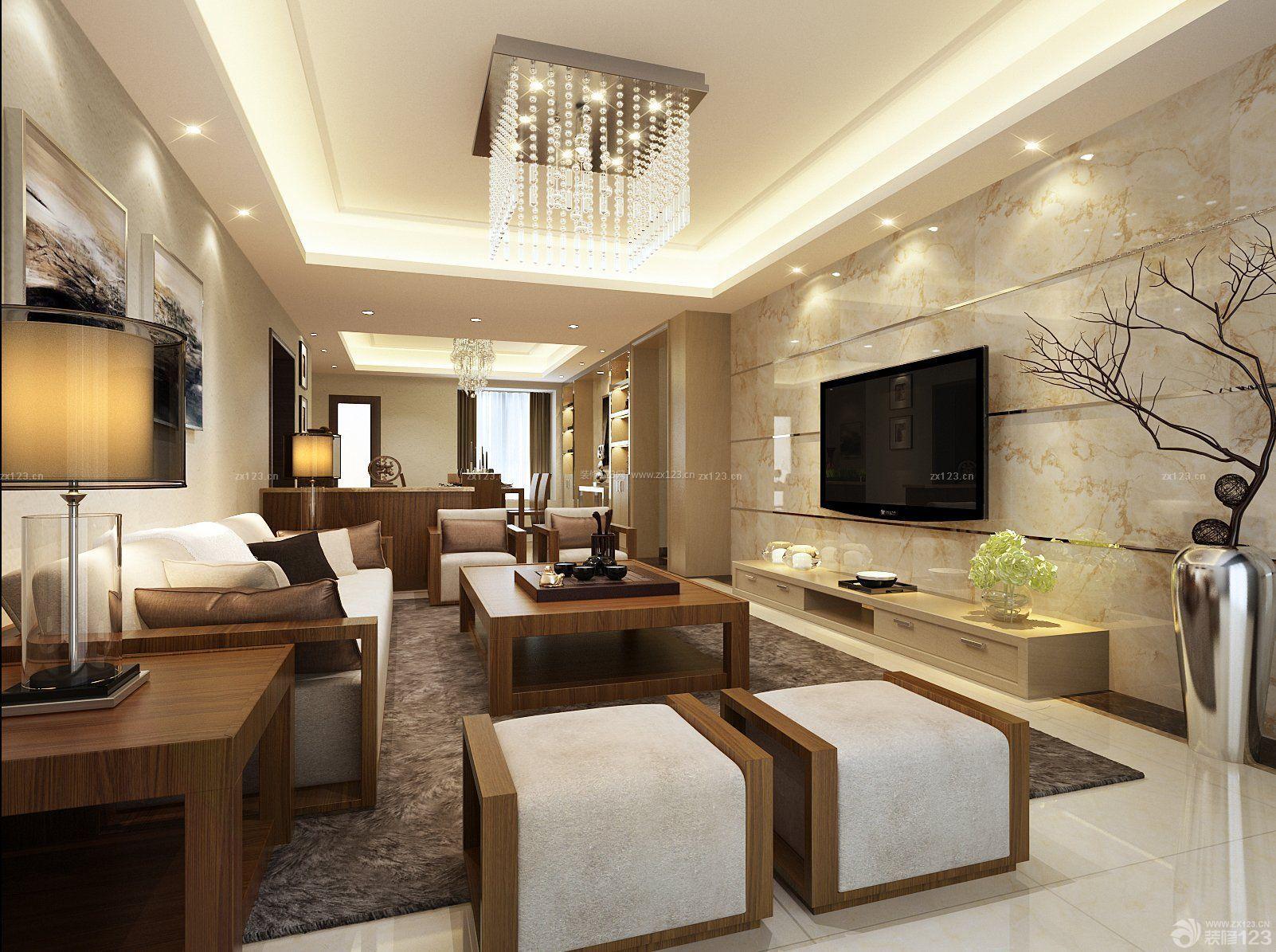 二室一厅中式2014瓷砖电视背景墙装修效果图