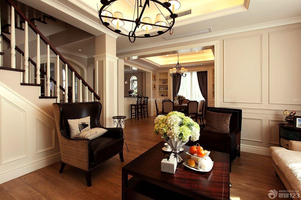 美式建筑风格家庭客厅装修效果图