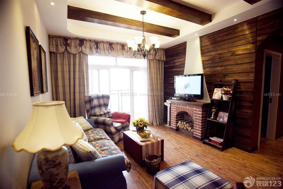 美式乡村风格客厅电视墙装修案例_装修123效果图图片