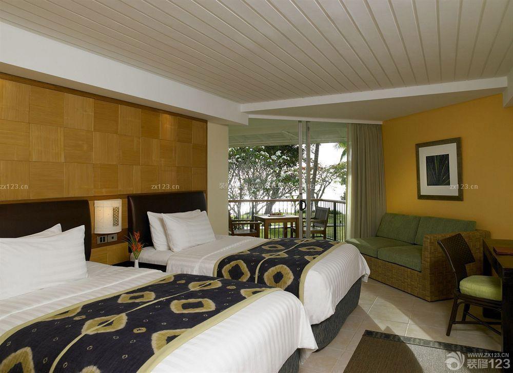 舒适东南亚风格酒店客房设计效果图